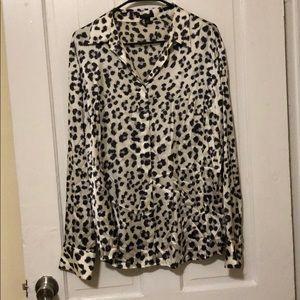 Ann Taylor - Silk Cheetah Print Blouse - 14